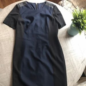 NWT Tahari Shift Dress with Leather Details